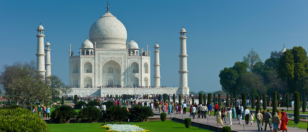 Crowds of tourists at The Taj Mahal mausoleum southern view Uttar Pradesh, India