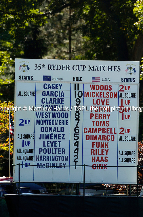during final day Singles of the Ryder Cup Matches 2004,Oakland Hills (South Course),Bloomfield,Michigan,USA.