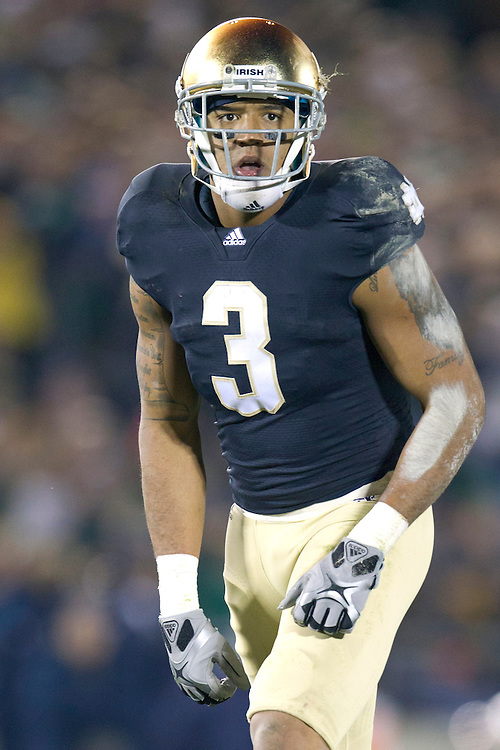 Notre Dame wide receiver Michael Floyd (#3) reads the defensive coverage during fourth quarter of NCAA football game between Notre Dame and Boston College.  The Notre Dame Fighting Irish defeated the Boston College Eagles 16-14 in game at Notre Dame Stadium in South Bend, Indiana.