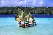 Papua New Guinea, Kitava Island, The Trobriands, Kula sailing canoe<br />