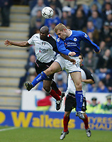 Fotball<br /> Premier League 2004<br /> 10.03.2004<br /> Leicester v Fulham<br /> NORWAY ONLY<br /> <br /> MARTIN DJETOU AND JAMES SCOWCROFT
