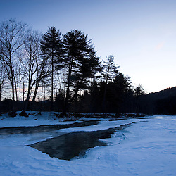 Dawn and the frozen West River in Jamaica, Vermont.