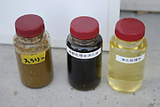 """Jars showing manure at different stages of biogas processing. The jar on the left is raw manure. Kuzumaki in Northern Japan bills itself as a town of """"Milk, wine and clean energy"""". The 8000 population town has little local industry so Kuzumaki invited Japanese companies to set up wind, solar and biogas generating plants."""