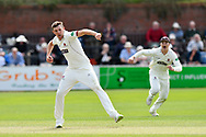 Wicket - Craig Overton of Somerset celebrates taking the wicket of Josh Tongue of Worcestershire caught and bowled during the Specsavers County Champ Div 1 match between Somerset County Cricket Club and Worcestershire County Cricket Club at the Cooper Associates County Ground, Taunton, United Kingdom on 22 April 2018. Picture by Graham Hunt.