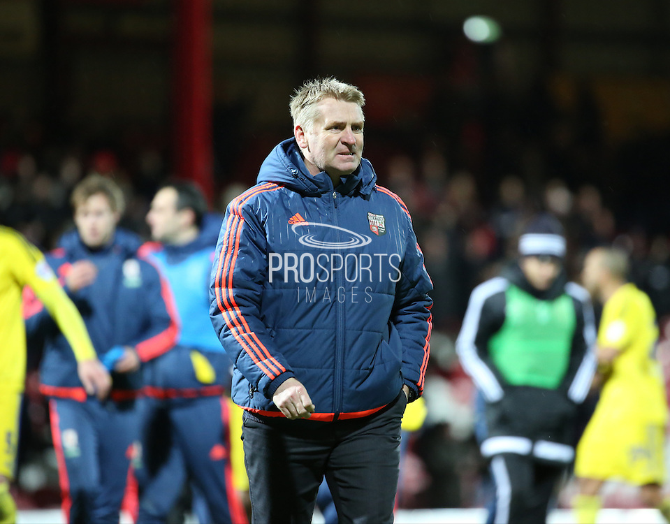 Brentford manager Dean Smith  during the Sky Bet Championship match between Brentford and Middlesbrough at Griffin Park, London, England on 12 January 2016. Photo by Matthew Redman.