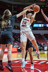 NORMAL, IL - February 27: Lexi Wallen squeezes off a shot with only Sydney Manning having a chance for a block during a college women's basketball game between the ISU Redbirds and the Bears of Missouri State February 27 2020 at Redbird Arena in Normal, IL. (Photo by Alan Look)