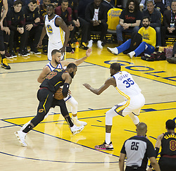 May 31, 2018 - Oakland, California, U.S - LeBron James #23 of the Cleveland  Cavaliers drives  against Stephen Curry #30 and Kevin Durant #35 of the  Golden State Warriors during  their NBA Championship  Game 1 at Oracle Arena in Oakland, California on Thursday,   May 31, 2018. (Credit Image: © Prensa Internacional via ZUMA Wire)