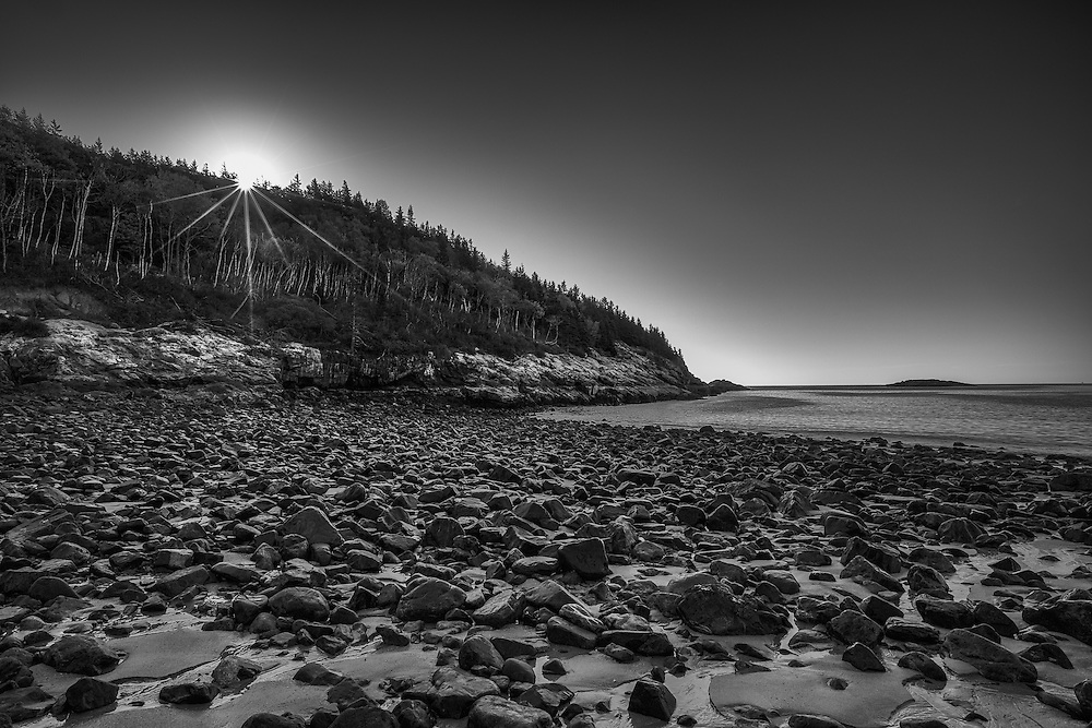 Daybreak over Sand Beach in Acadia National Park. Maine.