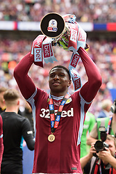 May 27, 2019 - London, England, United Kingdom - Kortney Hause (30) of Aston Villa with the trophy during the Sky Bet Championship match between Aston Villa and Derby County at Wembley Stadium, London on Monday 27th May 2019. (Credit: Jon Hobley | MI News) (Credit Image: © Mi News/NurPhoto via ZUMA Press)