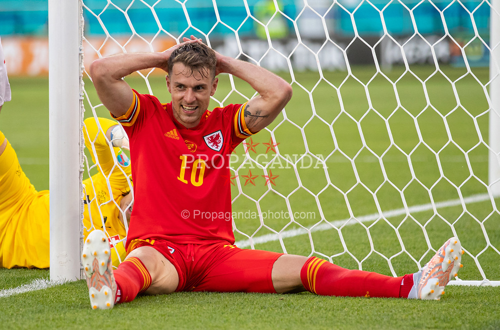 BAKU, AZERBAIJAN - Saturday, June 12, 2021: Wales' Aaron Ramsey reacts after missing a chance during the UEFA Euro 2020 Group A match between Wales and Switzerland at the Baku Olympic Stadium. The game ended in a 1-1 draw. (Photo by David Rawcliffe/Propaganda)