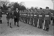 20/02/1963.02/20/1963.20 February 1963.Japanese Minister His Excellency Yujiro Iseki presents his credentials to President de Valera at Aras an Uachtarain. Image shows Minister Yujiro Iseki inspecting the guard of honour at Aras an Uachtarain.