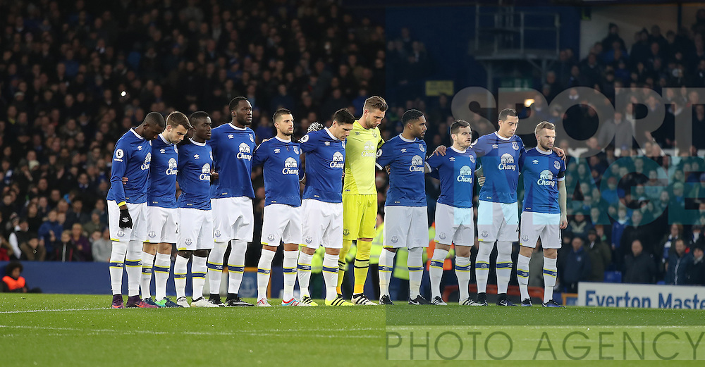 Everton team group in a minutes silence for the Chapecoense air crash before  the Premier League match at Goodison Park, Liverpool. Picture date: December 4th, 2016.Photo credit should read: Lynne Cameron/Sportimage