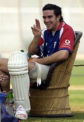 File photo dated 15-02-2006 of England's Kevin Pietersen relaxes during net practice at the Cricket Club of India, Brabourne Stadium, Bombay.