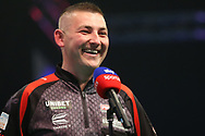 Nathan Aspinall being interviewed after his victory over Michael Van Gerwen during the PDC Unibet Premier League darts at Marshall Arena, Milton Keynes, United Kingdom on 24 May 2021.
