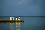 Two deck chairs in conversation, Belize
