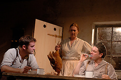 HARVEST <br /> Royal Court Theatre<br /> Press photocall September 14th, 2005 <br /> <br /> l to r <br /> Gareth Farr<br /> Sharon Bower<br /> Matthew Dunster