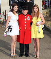 Princess Eugenie; Chelsea Pensioner Paddy Fox; Princess Beatrice Elephant Parade and Auction held at the Royal Hospital Gardens, Chelsea, London, UK, 30 June 2010:  For piQtured Sales contact: Ian@Piqtured.com +44(0)791 626 2580 (Picture by Richard Goldschmidt/Piqtured)
