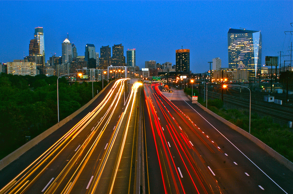 A Philadelphia Skyline from West with car light streaks, Comcast Center (l) and Cira (r), BNY Mellon Center, Bell Atlantic Tower