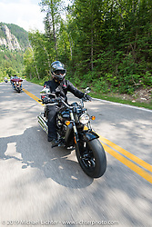 The new Indian Scout on the Legends Ride from Deadwood, SD through Spearfish Canyon and to the Sturgis Buffalo Chip during the Sturgis Black Hills Motorcycle Rally. SD, USA. August 4, 2014.  Photography ©2014 Michael Lichter.