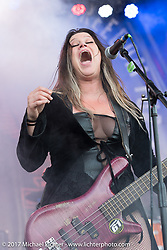 Jasmine Cain plays with her band on the Full Moon Stage on Main Street during Biketoberfest. Daytona Beach, FL, USA. Friday October 20, 2017. Photography ©2017 Michael Lichter.