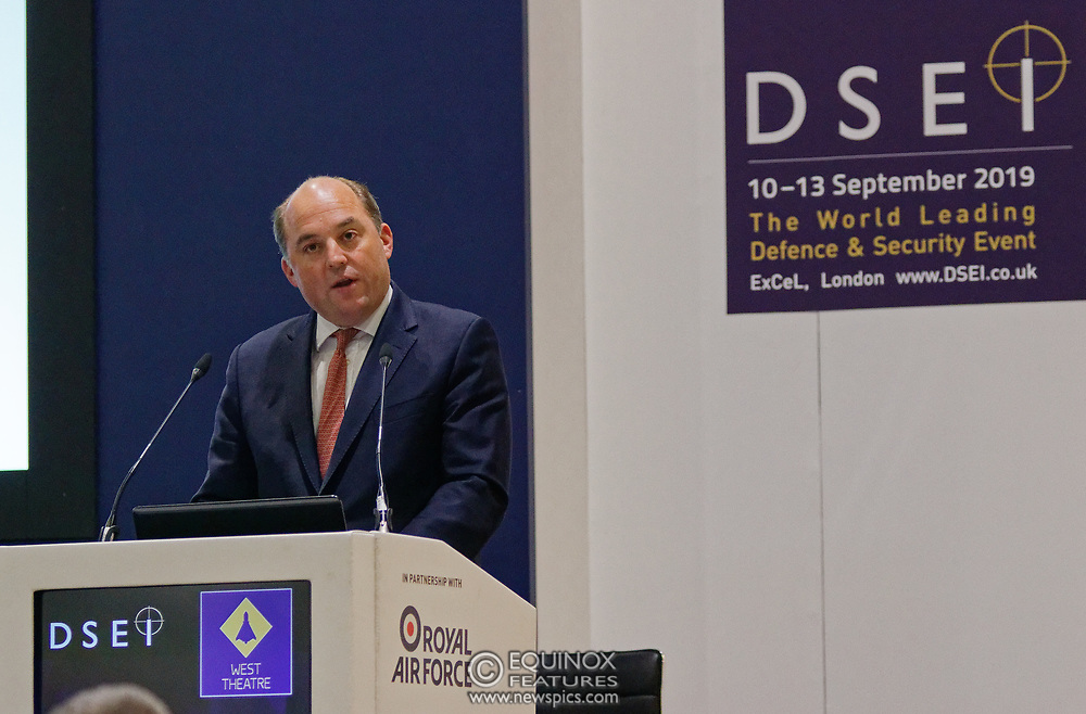 London, United Kingdom - 11 September 2019<br /> The Rt Hon Ben Wallace MP. Secretary of State for Defence for the UK Government presents keynote address speech to audience at DSEI 2019 security, defence and arms fair at ExCeL London exhibition centre.<br /> (photo by: EQUINOXFEATURES.COM)<br /> Picture Data:<br /> Photographer: Equinox Features<br /> Copyright: ©2019 Equinox Licensing Ltd. +443700 780000<br /> Contact: Equinox Features<br /> Date Taken: 20190911<br /> Time Taken: 12371424<br /> www.newspics.com