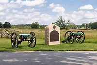 Cannons stand in memorial of the Battle of Gettysburg, Gettysburg National Military Park, Pennsylvania, USA.