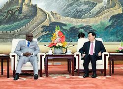 (170904) -- BEIJING, Sept. 4, 2017 (Xinhua) -- Zhang Dejiang (R), chairman of the Standing Committee of the National People's Congress (NPC), meets with Burundi Senate Speaker Reverien Ndikuriyo at the Great Hall of the People in Beijing, capital of China, Sept. 4, 2017. (Xinhua/Ding Haitao) (zwx) (Photo by Xinhua/Sipa USA)