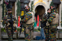 "© Licensed to London News Pictures. 23/11/2015. Brussels, Belgium. Belgian military patrolling The Grand Place, the main square in central Brussels where the city is currently on lockdown amid ""imminent threat"" of Paris-style bomb and gun attacks. Some public transport and schools have been closed as a precaution. Photo credit: Ben Cawthra/LNP"