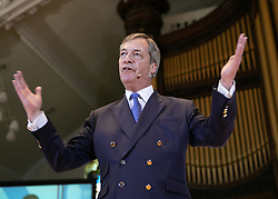 © Licensed to London News Pictures. 20/04/2019. Nottingham, UK. Brexit Party rally. NIGEL FARAGE speaking at the Brexit Party rally held at the Albert Hall Conference Centre, Nottingham. Photo credit: Dave Warren/LNP