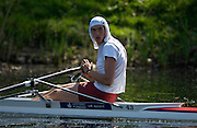 Hazewinkel, BELGIUM, Men's Single Scull, Charles COUSINS moving round to the start pontoon in the Sunday, semi final, during the GB Rowing Senior Trials, on Sun,15.04.2007  [Credit, Peter Spurrier/Intersport-images]   [Mandatory Credit, Peter Spurier/ Intersport Images]. , Rowing Course, Bloso, Hazewinkel. BELGUIM
