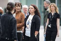 © Licensed to London News Pictures . 30/06/2017 . Stockport , UK . Mourners wearing Martyn Hett t-shirts wait outside the Town Hall ahead of the service . The funeral of Martyn Hett at Stockport Town Hall . Martyn Hett was 29 years old when he was one of 22 people killed on 22 May 2017 in a murderous terrorist bombing committed by Salman Abedi, after an Ariana Grande concert at the Manchester Arena . Photo credit : Joel Goodman/LNP
