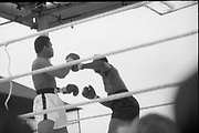 Ali vs Lewis Fight, Croke Park,Dublin.<br /> 1972.<br /> 19.07.1972.<br /> 07.19.1972.<br /> 19th July 1972.<br /> As part of his built up for a World Championship attempt against the current champion, 'Smokin' Joe Frazier,Muhammad Ali fought Al 'Blue' Lewis at Croke Park,Dublin,Ireland. Muhammad Ali won the fight with a TKO when the fight was stopped in the eleventh round.<br /> <br /> Lewis throws a left as he tries to create an opening for his right.