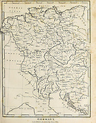 18th Century map of Germany Copperplate engraving From the Encyclopaedia Londinensis or, Universal dictionary of arts, sciences, and literature; Volume VIII;  Edited by Wilkes, John. Published in London in 1810.