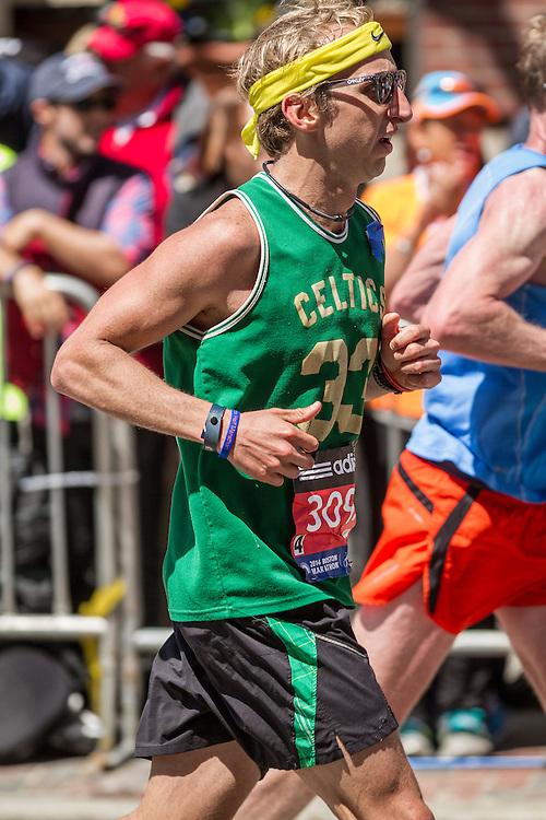 2014 Boston Marathon: runner heading for the finish line