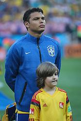 Thiago Silva canta hino nacional na partida entre Brasil x Croácia, na abertura da Copa do Mundo 2014, no Estádio Arena Corinthians, em São Paulo. FOTO: Jefferson Bernardes/ Agência Preview