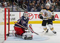 October 30, 2017 - Columbus, OH, USA - Columbus Blue Jackets goalie Sergei Bobrovsky (72) allows a goal to Boston Bruins center Patrice Bergeron (37), not in photo, while Boston Bruins left wing Brad Marchand (63) stands in front of the goal during the second period of their NHL game at Nationwide Arena in Columbus, Ohio on Oct. 30, 2017. (Credit Image: © Kyle Robertson/TNS via ZUMA Wire)