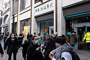 Shoppers return to Primark on Oxford Street as non-essential shops reopen and the national coronavirus lockdown three eases on 12th April 2021 in London, United Kingdom. Now that the roadmap for coming out of the national lockdown has been laid out, this is the first phase of the easing of restrictions, and large numbers of people are out in Londons retail district to go shopping.