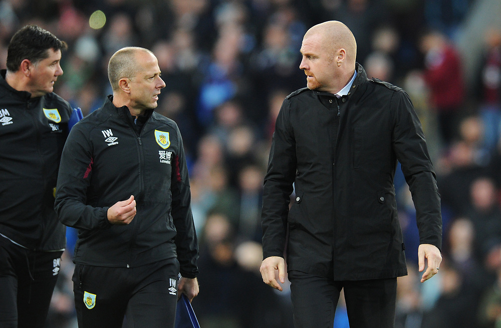 Burnley manager Sean Dyche with assistant manager Ian Woan<br /> <br /> Photographer Kevin Barnes/CameraSport<br /> <br /> The Premier League - Burnley v Chelsea - Saturday 26th October 2019 - Turf Moor - Burnley<br /> <br /> World Copyright © 2019 CameraSport. All rights reserved. 43 Linden Ave. Countesthorpe. Leicester. England. LE8 5PG - Tel: +44 (0) 116 277 4147 - admin@camerasport.com - www.camerasport.com
