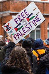 London, UK. 15th May, 2021. A handmade Free Palestine sign is pictured as hundreds of people attend a Free Palestine SOS Colombia solidarity rally outside the Colombian embassy. Speakers at the event highlighted human rights abuses such as forced displacement being directed against Palestinians in Israel and the Occupied Territories and the killing, repression, detention and torture of peaceful demonstrators and human rights defenders in Colombia.