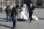 Many marrying couples come to the sights in Paris to have their photos taken - this Japanese couple was in front of Notre Dame