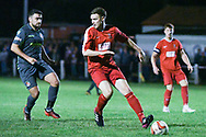 Alex Janes of Selby Town (6) holds off his marker during the The FA Cup Preliminary Round match between Selby Town and Kendal Town at the Fairfax Plant Hire Stadium, Selby, United Kingdom on 4 September 2018.