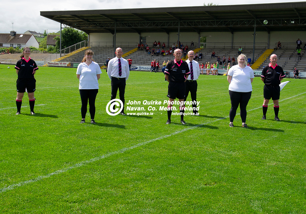 10-07-21. Meath v Cork - LGFA All-Ireland Senior Championship - Group 3 Round 1 at St. Brendan's Park, Birr.<br /> Referee John Devlin, Galway pictured with his team of officials.<br /> Photo: John Quirke / www.quirke.ie<br /> ©John Quirke Photography, 16 Proudstown Road, Navan. Co. Meath. (info@quirke.ie / 046-9028461 / 087-2579454).