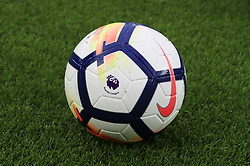 """A view of the match ball before the Premier League match at Goodison Park, Liverpool. PRESS ASSOCIATION Photo. Picture date: Monday April 23, 2018. See PA story SOCCER Everton. Photo credit should read: Peter Byrne/PA Wire. RESTRICTIONS: EDITORIAL USE ONLY No use with unauthorised audio, video, data, fixture lists, club/league logos or """"live"""" services. Online in-match use limited to 75 images, no video emulation. No use in betting, games or single club/league/player publications."""