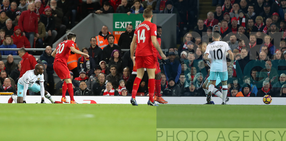 Adam Lallana of Liverpool scores during the Premier League match at Anfield Stadium, Liverpool. Picture date: December 11th, 2016.Photo credit should read: Lynne Cameron/Sportimage