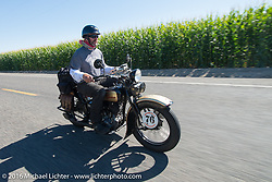 "Robert Gustavsson or ""Big Swede"" as he is fondly known, riding his 1931 Harley-Davidson VL during Stage 15 (244 miles) of the Motorcycle Cannonball Cross-Country Endurance Run, which on this day ran from Lewiston, Idaho to Yakima, WA, USA. Saturday, September 20, 2014.  Photography ©2014 Michael Lichter."