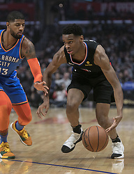 March 8, 2019 - Los Angeles, California, United States of America - Shai Gilgeous-Alexander #2 of the Los Angeles Clippers drives past Paul George #13 of the Oklahoma Thunder during their NBA game on Friday March 8, 2019 at the Staples Center in Los Angeles, California. Clippers defeat Thunder, 118-110.  JAVIER ROJAS/PI (Credit Image: © Prensa Internacional via ZUMA Wire)