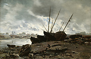 Dieppe: Boats Beached. 1882. Oil on canvas.   Emmanuel Lansyer (1835-1893) French landscape painter. France Normandy Water Sky Cloud