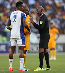 Referee Victor Hlungwani talks to James Okwuosa of Chippa United and Willard Katsande (c) of Kaizer Chiefs during the 2016 Premier Soccer League match between Chippa United and Kaizer Chiefs held at the Nelson Mandela Bay Stadium in Port Elizabeth, South Africa on the 3rd December 2016.<br /> <br /> Photo by:   Richard Huggard / Real Time Images
