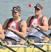 Banyoles, SPAIN, GBR M4X, right, Marcus BATEMAN and Bill LUCAS  at the start of the race for lanes in the Men's quadruple sculls  FISA World Cup Rd 1. Lake Banyoles  Saturday, 30/05/2009   [Mandatory Credit. Peter Spurrier/Intersport Images]