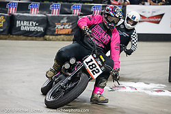Hunter Klee races into turn one at the Flat Out Friday flat track racing on the Dr. Pepper-covered track in the UW-Milwaukee Panther Arena during the Harley-Davidson 115th Anniversary Celebration event. Milwaukee, WI. USA. Friday August 31, 2018. Photography ©2018 Michael Lichter.